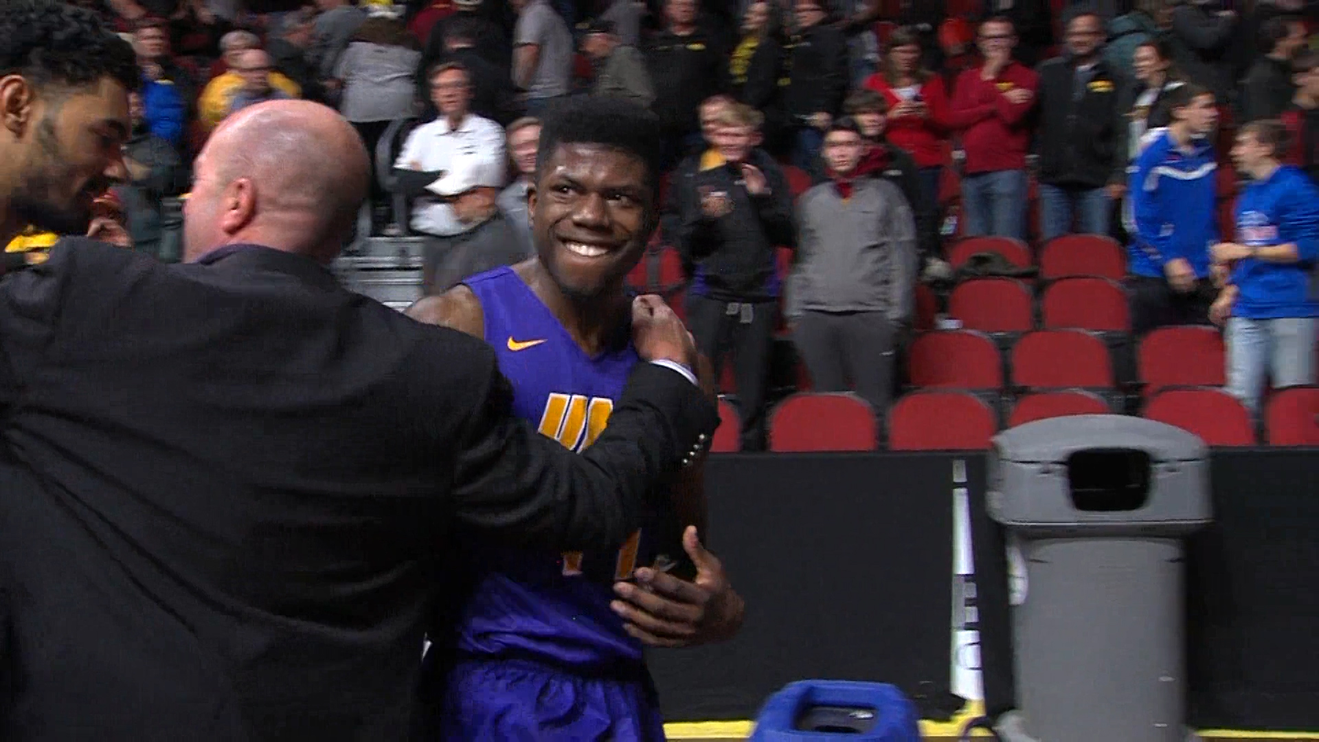 Wes Washpun celebrates after UNI's win over Iowa State