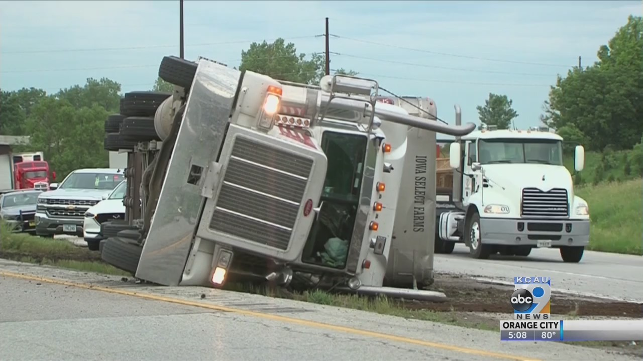 Semi carrying over 100 hogs rolls over on I-80