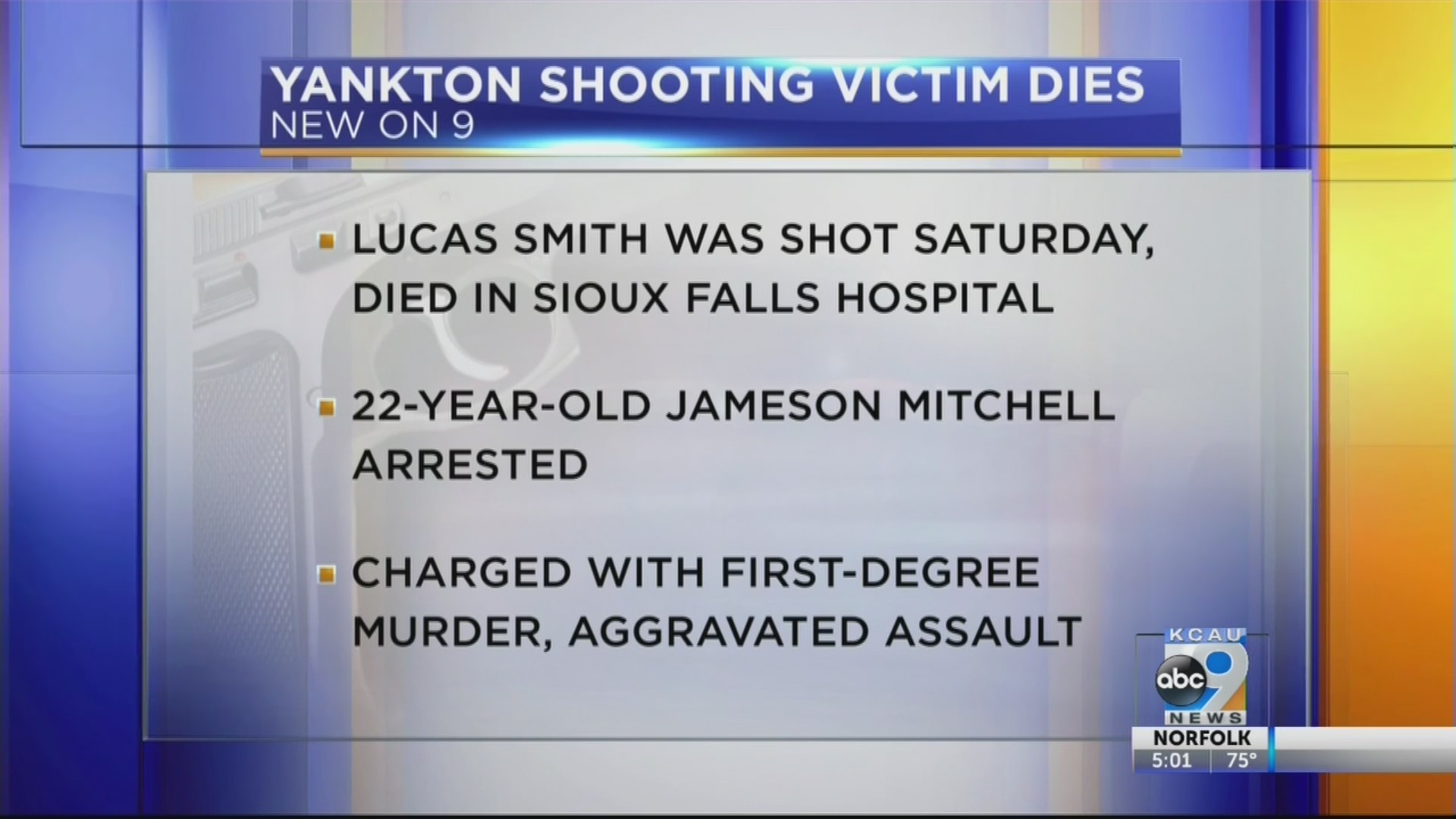 Victim in Yankton shooting dead, suspect charged with murder