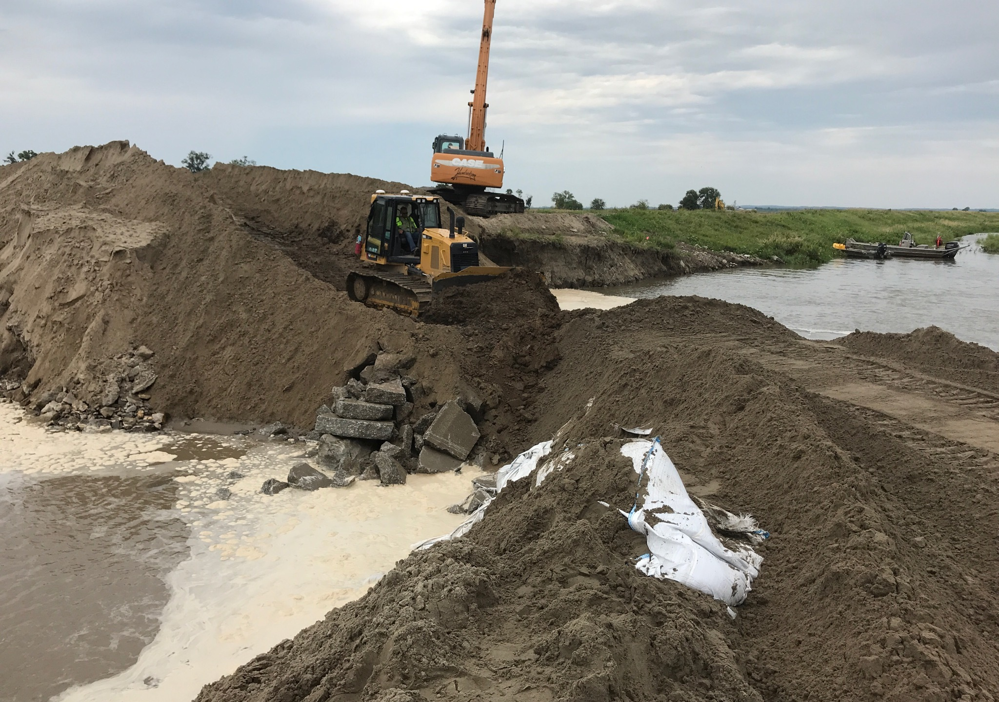 Repair work to close breached Missouri River levee completed