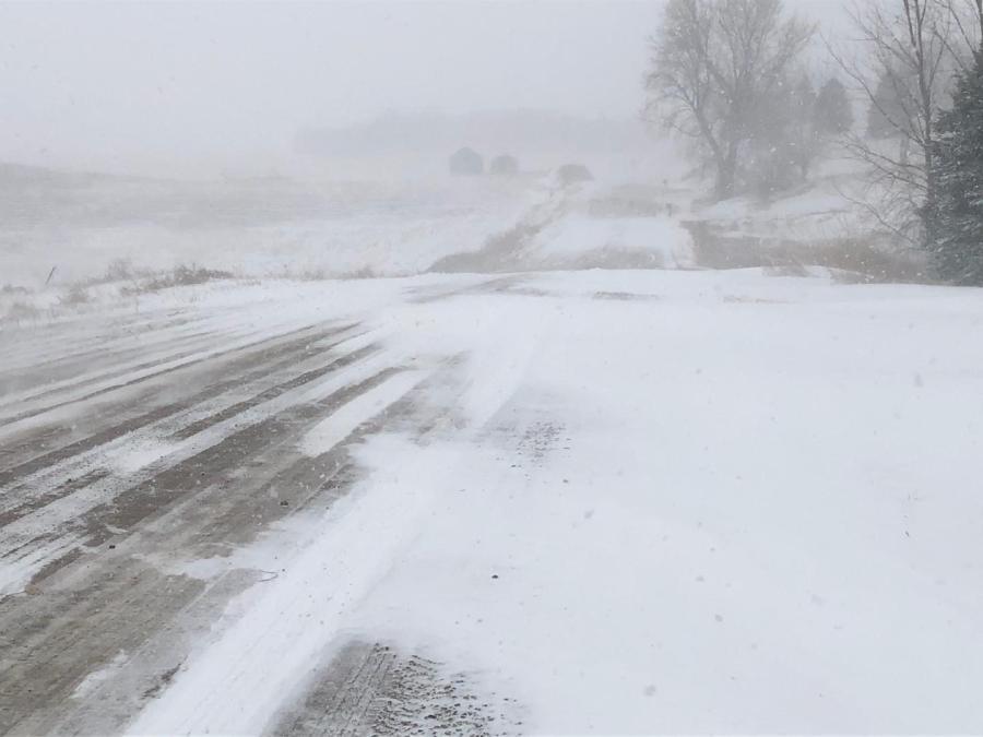 Woodbury County,gravel road,snow,blizzard,wind