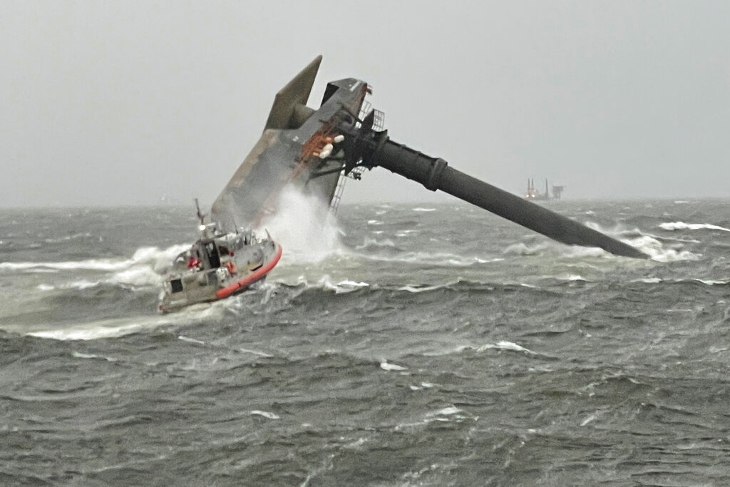 Coast Guard, Grand Isle,Boat,capsized,commercial lift boat,water,Louisiana,rescued,